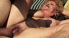 She's having a perfect day as he pounds her hairy twat and she sucks