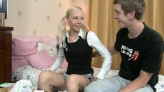 Petite young blonde Bella begs her boyfriend to fill her tight ass with his big cock