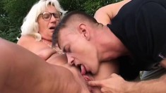 Horny granny is addicted to fucking younger guys with stiff dicks