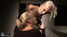 Mistress Kathia pushing her new girl toy's limits in a hot lezdom sex vid