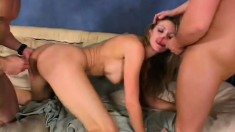 Blonde slut Roxanne Hall takes two unyielding pistons in both her holes