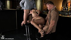 Lou Charmelle looking like a real crazy nympho in a threesome MMF porn vid
