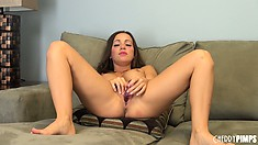 Abigail Mac loves shoving that cold, hard dildo in her warm, wet snatch