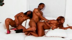 Her hairy black pussy runs like a river for his hard meat stick
