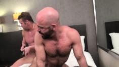 Two burly men make each other moan like little cock loving sluts
