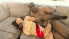 Asian MILF with big tits takes it balls deep from a black dick