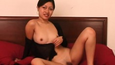 Spicy brunette Teana Tsoi sensually puts her slender body on display