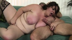 Joslyn Underwood gets her fat ass spanked and gets her twat tapped