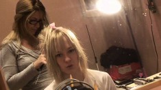 Blonde starlet loves being filmed while she's getting her hair done