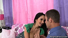 Fanatical molly Ava Addams opens her mouth wide and swallows