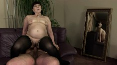 Naughty lady in black stockings fulfills her fantasy with a young man