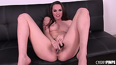 Tori inserts every inch of that sex toy in her twat and her body shudders with delight