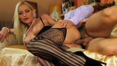 Sexy young blonde spreads her cheeks wide to let in a fat dong