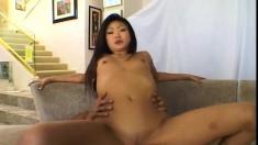 Petite Oriental slut Lucy is always ready to take on some black dick
