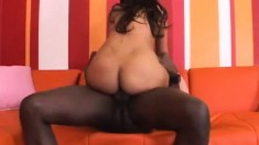 Curvaceous ebony girl Brown Sugar finds pure pleasure in a black pole
