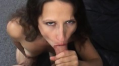 Slender brunette milf seduces her hung neighbor to fuck her hairy slit