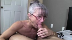 Horny Mature Woman With Glasses Takes A Big Cock Deep Down Her Throat