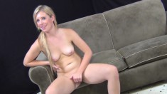 Horny blonde Jessica Heart rides the sybian and gives a deep blowjob