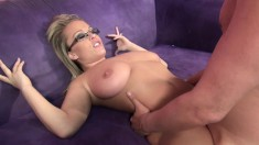 Jessica Moore flaunts her voluptuous curves and fucks a raging stick