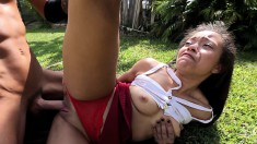 Pretty Girl With A Heavenly Ass Feeds Her Lust For Hard Dick Outside