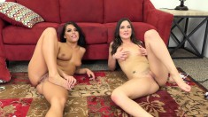 Two Ravishing Lesbian Friends Share Their Favorite Toys On The Couch