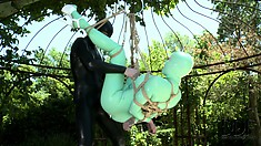 Suspended penetration is hot with them both in latex outdoors