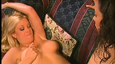 Brooke Hunter gets her lesbian pussy licked and fingered, then they fuck with a double sided dildo