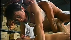 Cocksucking shemale's cumhole gets penetrated by two cocks at once