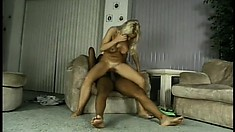 Busty blonde with a splendid ass and sexy long legs fully enjoys a big black cock