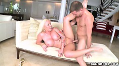 Curvy babe and tattooed Angel Vain fucked hard in her tasty pussy