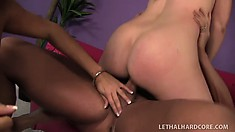 Tw gorgeous lesbian room mates open up to give big cocks a try