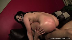 With her lovely big booty all oiled up, Ashli Orion gets fucked hard on the couch