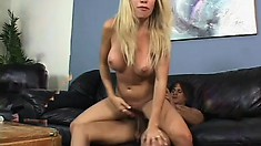 Skinny blonde MILF with big tits gets fucking loud riding a dick
