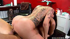 She rides his boner and then lays back to get twat pounded hard