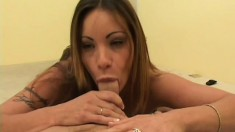 Slender long-haired babe Devyn sucks cock and takes deep dicking