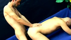 Slutty bald man Gebo is incredible at servicing cock with both holes