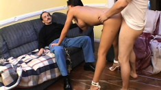Horny old man watches a magnificent young Latina getting drilled hard