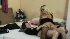 Slutty old lesbians please each other before a bunch of horny guys bang their holes