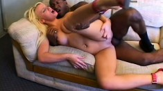 Marvelous blonde with big boobs finds intense pleasure in a black cock