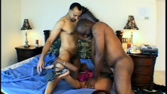 Slutty Amenah Blue in an interracial threesome and gets covered in cum