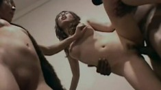 Big black stud gets three Asian sluts to work with and satisfies them all