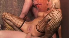 Courageous bitch in black fishnets Trina Michaels is DPed by big guys