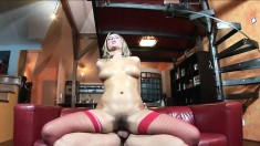 Oiled up blonde in gorgeous red lingerie gets down to play dirty