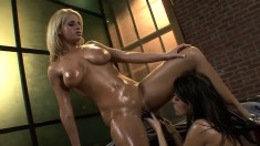 Two horny lesbians oil their naked bodies to make the pleasure even greater