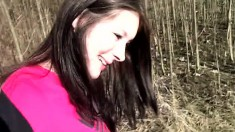 Freckled brunette cutie gives her lover a great blowjob outdoors