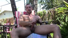 Jessie Colter strips off his clothes and pleases his big rod outside