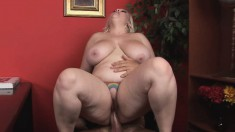 Fat as fuck blonde bunny with a tramp-stamp feasts on a big dick