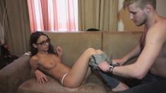 Skinny brunette teen happily surrenders her needy twat to a hung stud