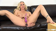 Julia Ann plugs her tight pink asshole and dripping wet pussy at the same time