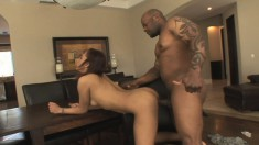 Flawless ebony girl Holly Pink has a black rod filling her aching twat